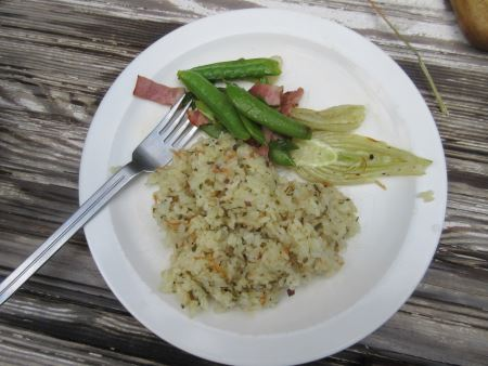 rice with beet green, sugar snap peas and roasted fennel