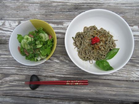 salad and soba lunch
